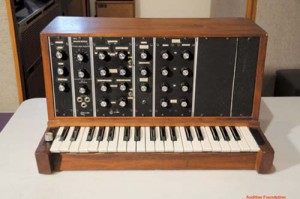 The first Minimoog prototype that was cobbled together with spare parts on Bill Hemsath's lunch breaks